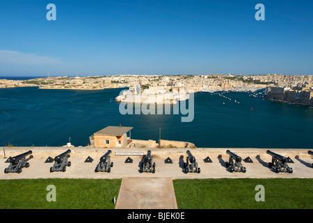 View from Valletta to Vittoriosa, Malta - Stock Photo
