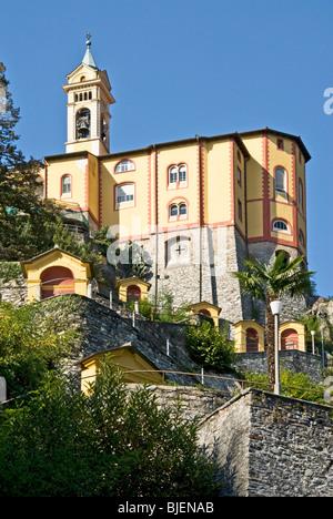 Pilgrimage church Madonna del Sasso, Locarno, Ticino, Switzerland - Stock Photo