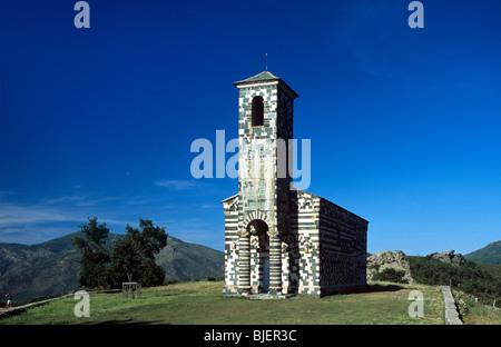 San Michele or Michel de Murato Church (1280), Pisan Romanesque Polychrome Church & Belfry, Murato, Corsica, France - Stock Photo