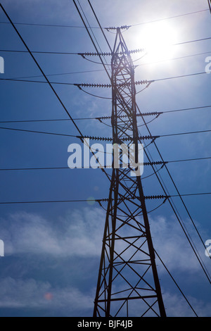 Trenton, Michigan - A high voltage electricity transmission tower. - Stock Photo