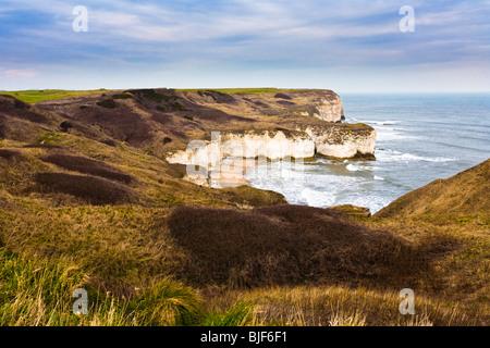 English coast - Chalk cliffs at Flamborough Head, Holderness coastline Yorkshire UK - Stock Photo