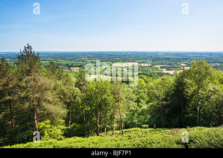 UK countryside, Surrey Weald view towards South Downs of Sussex from the top of Leith Hill, Surrey, England, UK - Stock Photo
