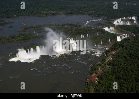 aerial view of iguazu falls and devils throat iguacu national park, parana, brazil, south america - Stock Photo