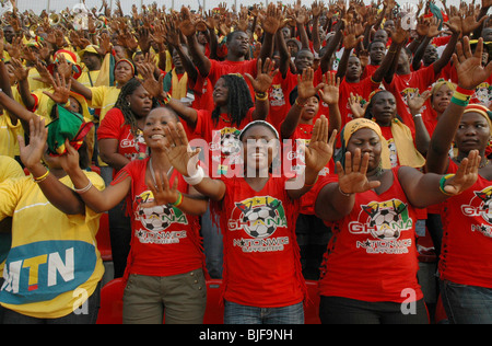 Ghanian supporters celebrate The African cup of Nations in their capital Accra. Ghana, West Africa, Africa - Stock Photo