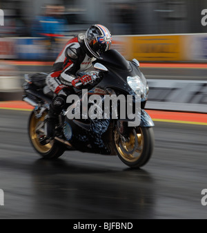 Suzuki Hayabusa Motorcycle in action at Santa pod. - Stock Photo