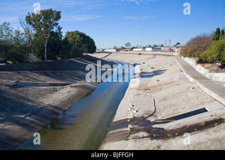 Ballona Creek is a nine-mile long flood protection channel that drains the Los Angeles basin. , Los Angeles, California, - Stock Photo