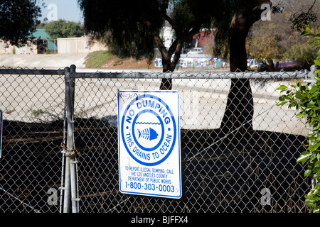 No Dumping in Ocean Sign, Ballona Creek, Culver City, Los Angeles, California, USA - Stock Photo