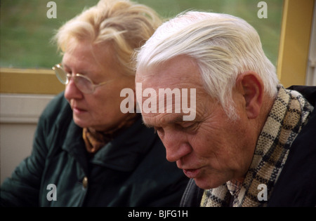 Row relationship older couple argue and communication problems - Stock Photo