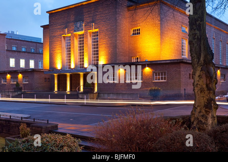 The modern style architecture of the Sir William Whitla Hall of the Queen's University, Belfast, Northern Ireland - Stock Photo