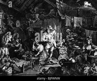 theater, actors, 'Strolling Actresses dressing in a Barn', etching by  William Hogarth, 1738, , Additional-Rights - Stock Photo