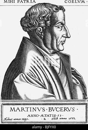 Bucer, Martin, 11.11.1491 - 27.2.1551, German reformer and humanist, portrait, side view, copper engraving, 1553, - Stock Photo