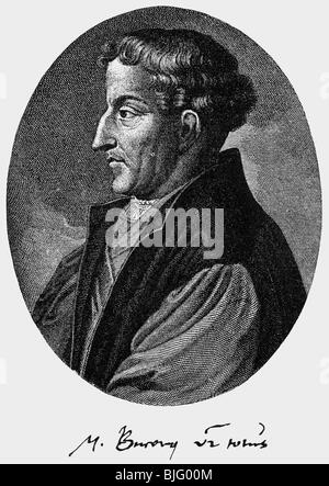 Bucer, Martin, 11.11.1491 - 27.2.1551, German reformer and humanist, portrait, side view, copper engraving by Gerard - Stock Photo