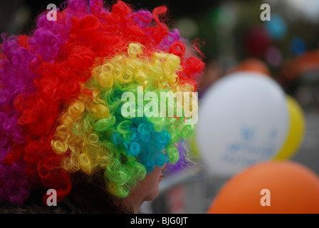 Israel, Purim A young woman dressed up as a clown - Stock Photo