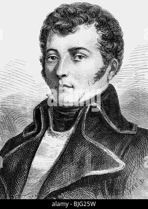 Vandamme, Dominique, 5.11.1770 - 15.7.1830, French general, portrait, circa 1795, wood engraving, 19th century, - Stock Photo
