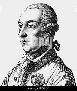 Joseph II, 13.3.1741 - 20.2.1790, Holy Roman Emperor 18.8.1765 - 20.2.1790, portrait, copper engraving, 19th century, - Stock Photo