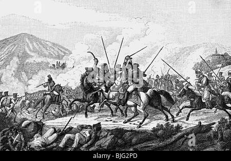 Vandamme, Dominique, 5.11.1770 - 15.7.1830, French general, captured in the Battle of Kulm, 30.8.1813, wood engraving, - Stock Photo