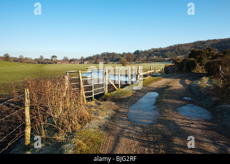 View across the water meadows in the Chilterns towards Hambleden Village, Buckinghamshire, Uk - Stock Photo