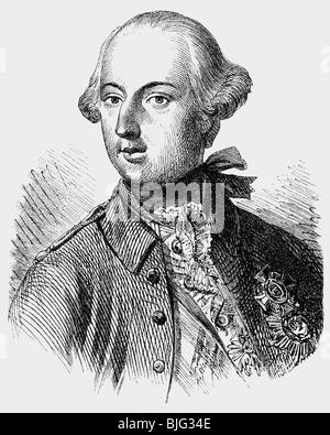 Joseph II, 13.3.1741 - 20.2.1790, Holy Roman Emperor 18.8.1765 - 20.2.1790, portrait, wood engraving, 19th century, - Stock Photo