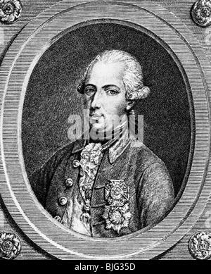 Joseph II, 13.3.1741 - 20.2.1790, Holy Roman Emperor 18.8.1765 - 20.2.1790, portrait, copper engraving, circa 1780, - Stock Photo