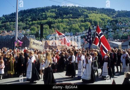 Parade on the Norwegian Constitution Day, May 17, in Bergen, Norway - Stock Photo