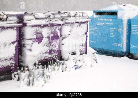 Recycling bins in winter, Scotland UK - Stock Photo
