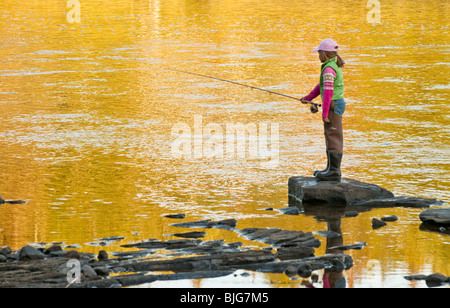 NEW BRUNSWICK, Young female fly fishierman fishing for Atlantic Salmon on the Miramichi River. - Stock Photo
