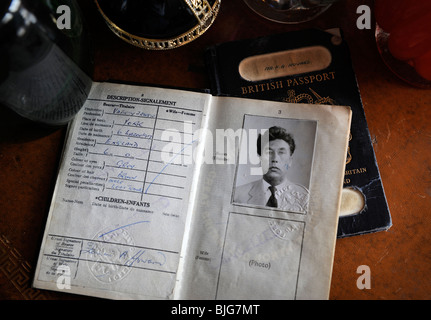 Frankie Howerd memorabelia including an old passport on display at Wavering Down House his former home - Stock Photo