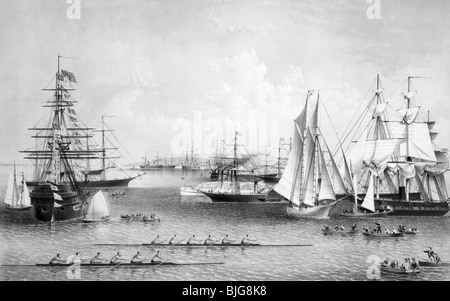 Black and white lithograph print circa 1869 entitled 'Summer Scenes in New York Harbor'. - Stock Photo
