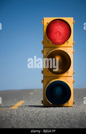 traffic signal in the middle of the highway - Stock Photo