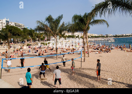 Beach near Boulevard de la Croissette, Cannes, France - Stock Photo