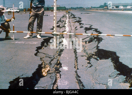 Japan Earthquake Damage Cracked Road - Stock Photo