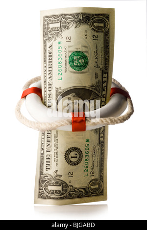 dollar in a life preserver