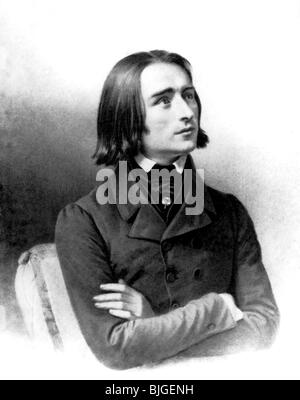Liszt, Franz, 22.10.1811 - 31.7.1886, Hungarian composer and pianist, half length, lithograph, 1842, , - Stock Photo