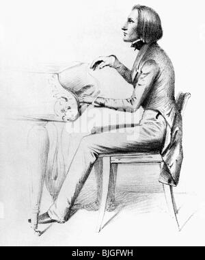 Liszt, Franz, 22.10.1811 - 31.7.1886, Hungarian composer and pianist, at the piano, lithograph, circa 1840, , - Stock Photo