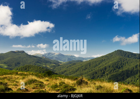 View from Zamateluko Gaina, a mountain in the Spanish Pyrenees of Navarre, northern Spain - Stock Photo
