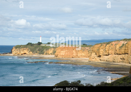 the coastline around Cape point and Split point lighthouse Aireys inlet Victoria Australia - Stock Photo