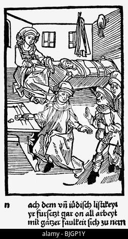 money / finance, money lender, farmer and burgher at the Jewish money lender, woodcut, Nuremberg, 1491, - Stock Photo