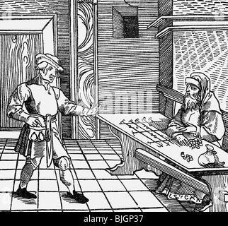 money / finance, money lender, farmer and Jewish money lender, woodcut, Cicero 'De officia', Augsburg, 1531, , - Stock Photo