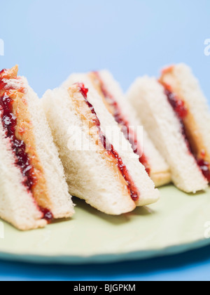 Peanut butter and jelly sandwiches - - Stock Photo