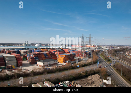 shipping containers stacked in Southampton Container Port - Stock Photo