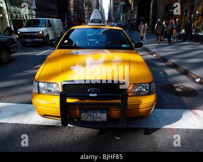 Yellow Taxi Cab Madison Avenue New York Travel - Stock Photo