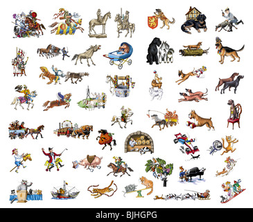 Dogs, horses and cats - Stock Photo