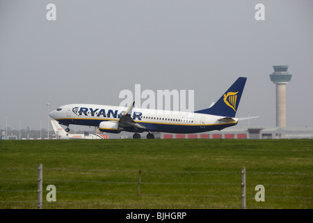 Ryanair Boeing 737-8AS taking off from Stansted Airport - Stock Photo