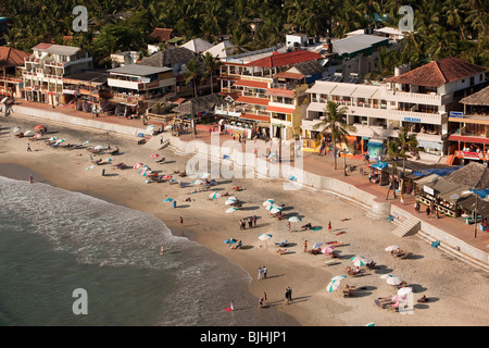 India, Kerala, Kovalam, elevated view of beach from top of Vizhinjam Lighhouse - Stock Photo