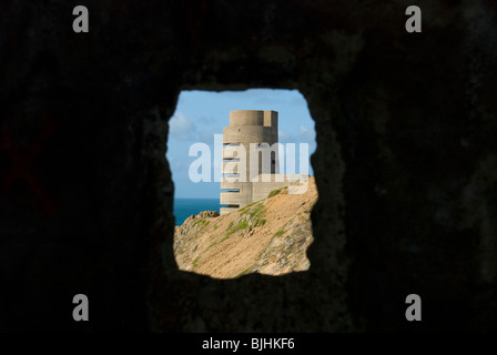 jersey coastal defences from german world war two ocupation - Stock Photo