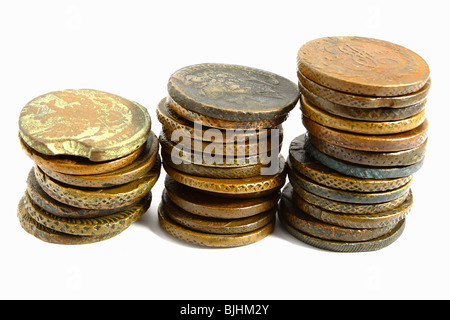 old russian coins on the white background - Stock Photo