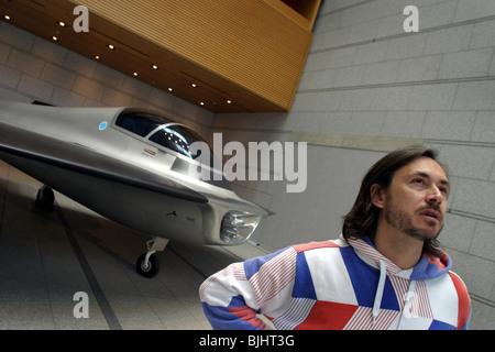 Designer Marc Newson in front of his installation 'Kelvin 40'. Tokyo Japan - Stock Photo