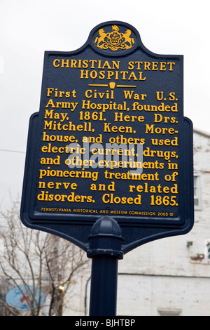 Christian Street Hospital First Civil War U.S. Army Hospital, founded May, 1861 - Stock Photo