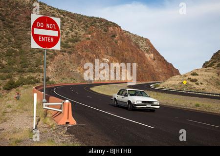 Do not enter sign on highway near cutting Fusselman Canyon near El Paso Texas USA - Stock Photo