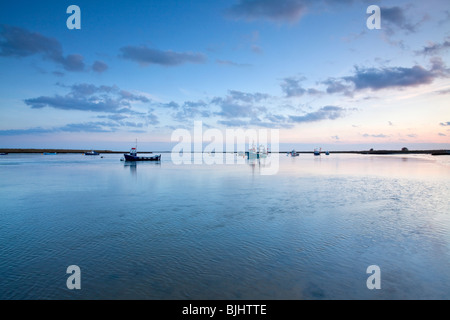 A winter sunset sunset at Orford on the Suffolk Coast - Stock Photo